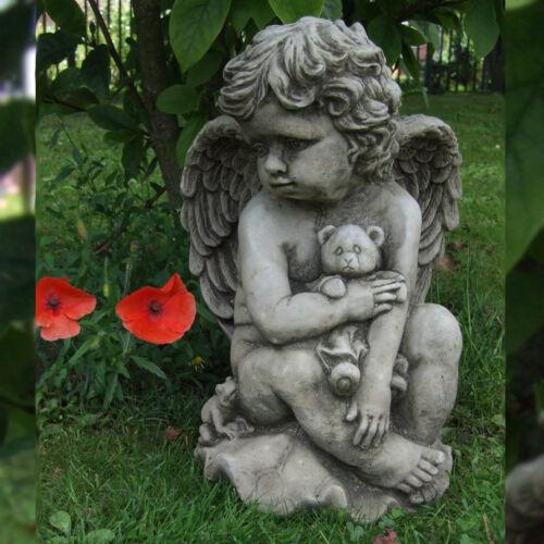 TEDDY CHERUB Hand Cast Stone Garden Ornament Statue Grave Memorial ⧫onefold-uk