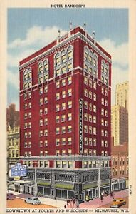 Image Is Loading Milwaukee Wisconsin 1940s Postcard Hotel Randolph Downtown At