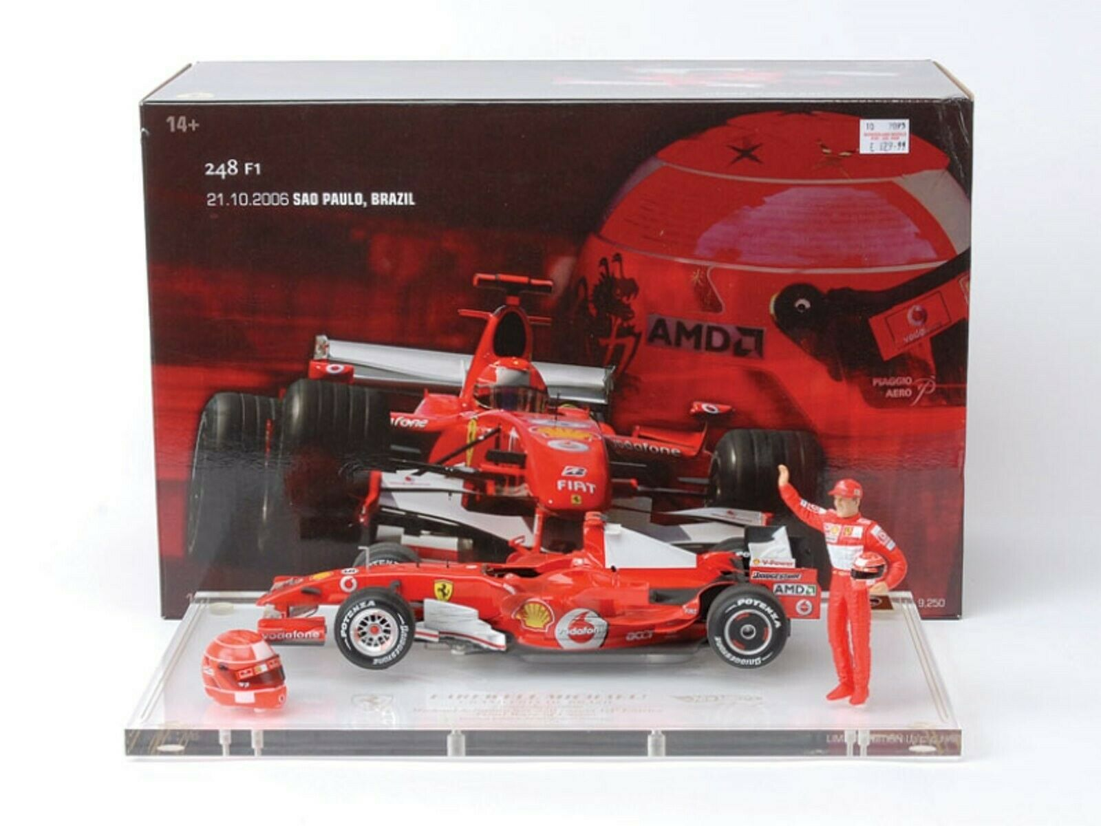 WOW EXTREMELY RARE Ferrari 2006 248 F1 Schumacher Brazil Final 1 18 Hot Wheels