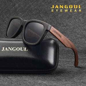 0b33a4c7fb Image is loading Natural-Bamboo-Sunglasses-Polarized-Handmade-Vintage-Black- Walnut-