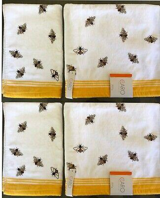 CARO Home~Honey Bees~Velour Towels~4 Piece Set~White//Yellow//Brown//Black~NWT