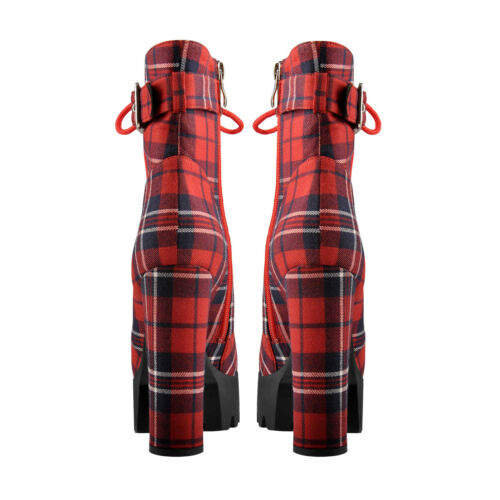 Women/'s Platform Ankle Boots Buckle Strap Chunky Heel Plaid Lace Up Boots Zipper