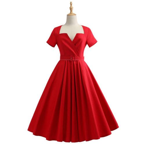 50s Vintage Women Hepburn Plus Size Evening Party Rockabilly Red Swing Dress