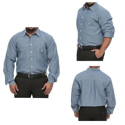 Big and Tall 626 Blue Striped Blue Long Sleeve 100/% Cotton Shirt for Men