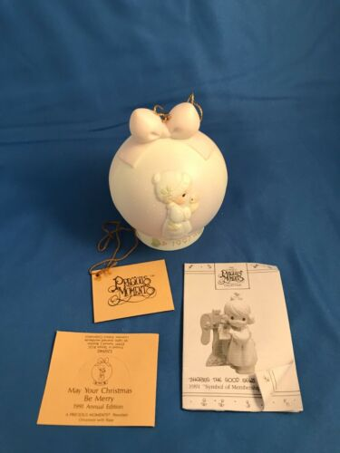 """526940 Precious Moments /""""May Your Christmas Be Merry/"""" Vessel mark 1991 Ball"""