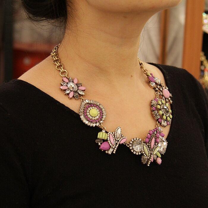 Halskette blueme unregelmäßige pink purplet yellow Retro Original Ehe Geschenk AZ2