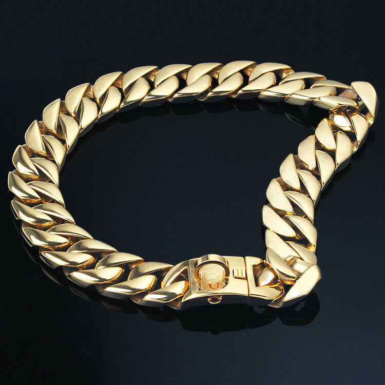 HDK LUX Dog Chains   gold Cuban Link   32mm Width AUTHORIZED SELLER