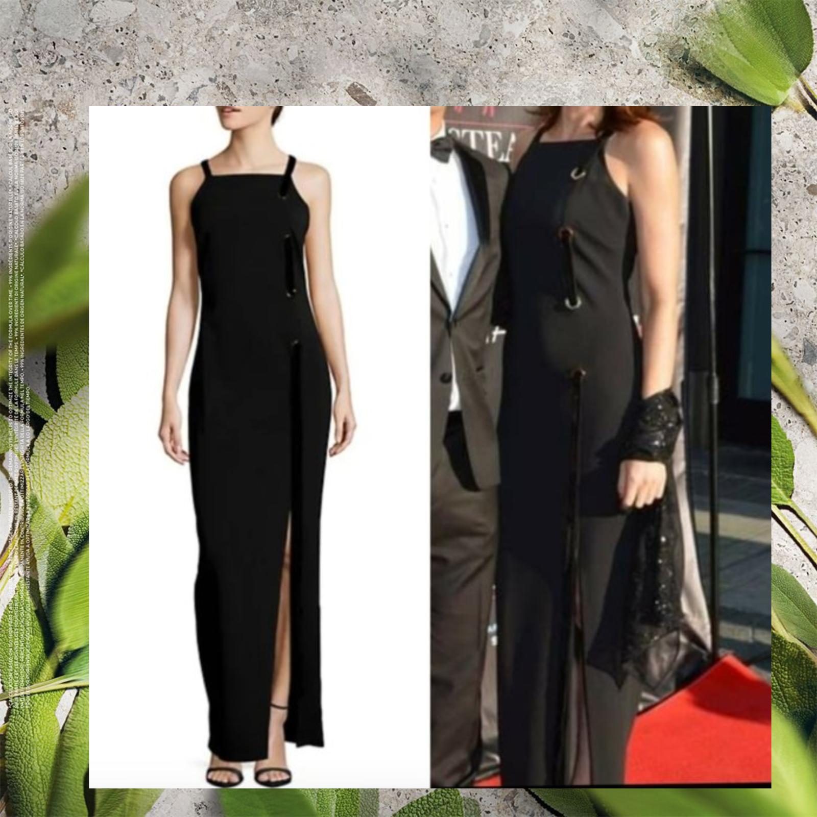 NWT BADGLEY MISCHKA Black Grommet Ribbon Formal Evening Long Gown 12 Large