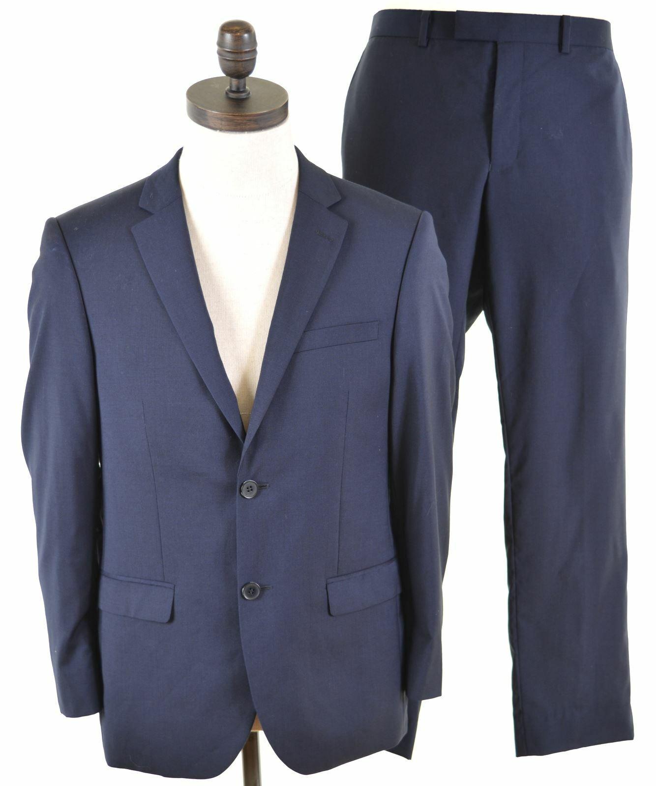DKNY Mens 2 Piece Suit Größe 38 Medium W34 L28 Navy Blau Wool Slim Fit  IX26