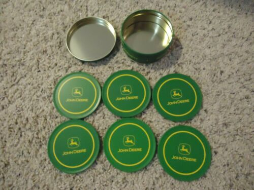John Deere Metal Coasters /& Storage Tin Set 6 Coasters