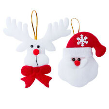 Set Of 4 Felt Christmas Tree Decorations Ornaments Santa Reindeer