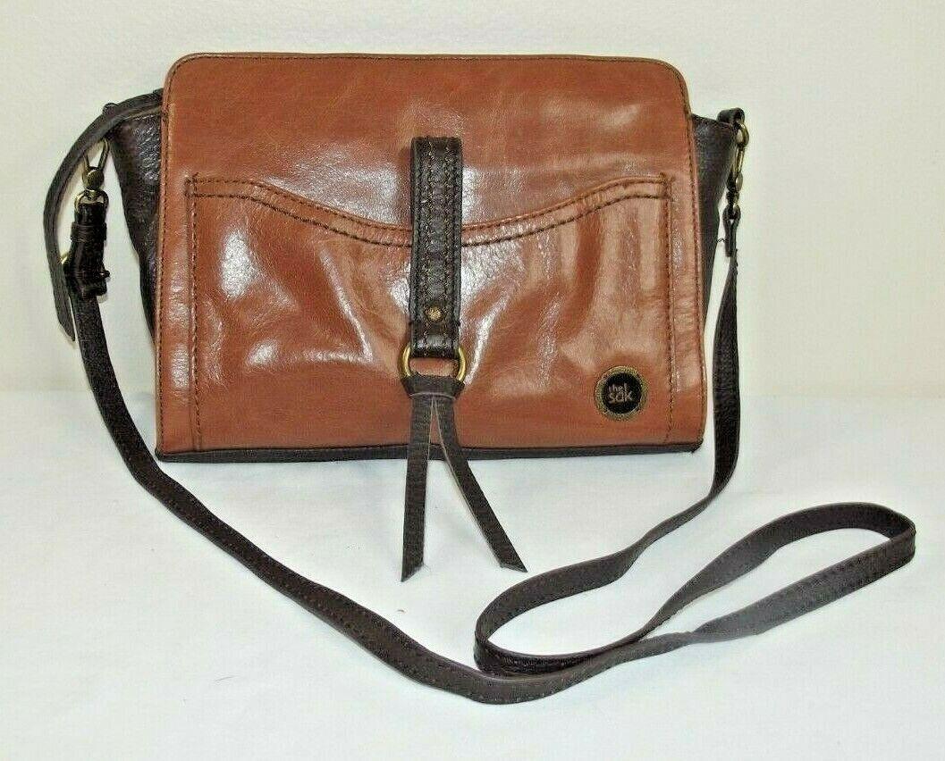 THE SAK Leather CROSSBODY BAG - Brown 2-Tone Hipster PURSE Retro Style