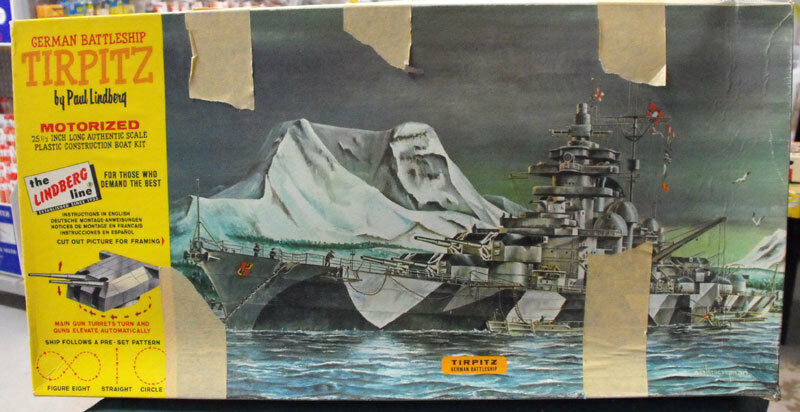 Vintage 1960s Lindberg 1 350 TIRPITZ German Battleship MOTORIZED 764M
