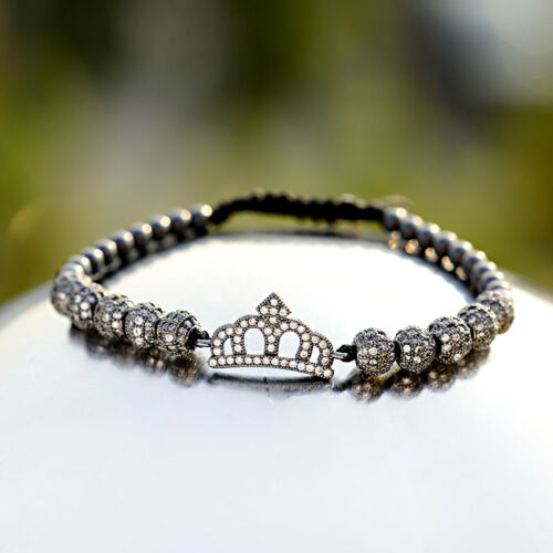 Luxe Femmes Hommes Zircon Couronne Perles Macrame réglable reine roi Couple Bracelet