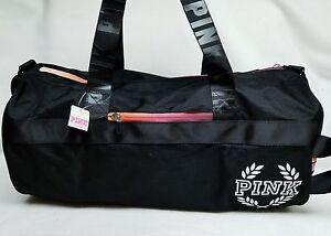 Victoria s Secret Pink Campus BLACK Ombre Retro Duffle Gym Bag Tote ... 4737689dd
