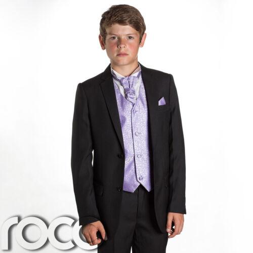 Boys Wedding Suits Lilac Waistcoat Boys Black Suit Prom Suits Page Boy Suits
