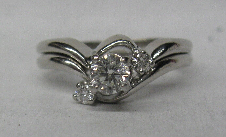 PLATINUM .33 CT. DIAMOND ENGAGEMENT WEDDING RING SET