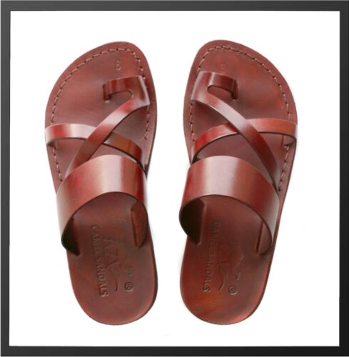New Brown Biblical Sandals 100/% Leather Jesus Strap Sandal Shoes Women Size 6-10