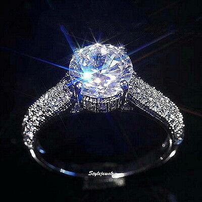 18k White Gold Plate Swarovski Crystal Lab Diamond 2 Carats Engagement Ring R167