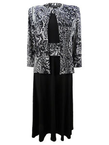Jessica-Howard-Women-039-s-Fit-amp-Flare-Midi-Dress-amp-Printed-Jacket-4P-Black-Ivory