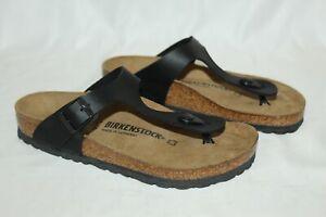 NEW-Birkenstock-Gizeh-Birko-Flor-Sandals-Thongs-Unisex-39-W-8-M-6-Black-0043691