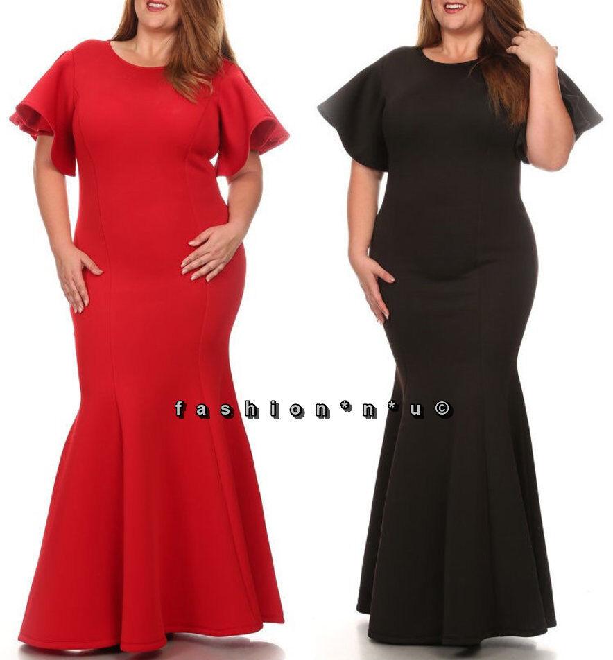Plus Size Ruffle Flutter Sleeve Mermaid Maxi Dress Gown