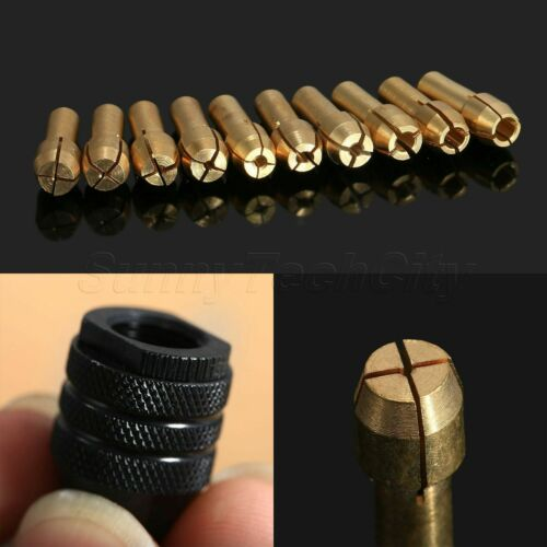 Mini 0.5mm-3.2mm Drill Brass Collet Chuck Bits /& M8 Keyless Chuck Rotary Tool