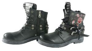 Replay Damen Stiefel Schuhe Stiefeletten Biker Boots mit Rosenmotiv