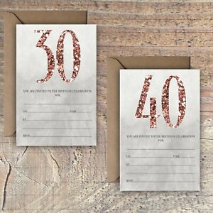 BIRTHDAY-INVITATIONS-BLANK-ROSE-GOLD-GLITTER-PRINT-EFFECT-30TH-40th-PACKS-OF-10