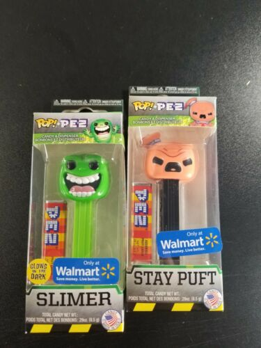 Pez Slimer /& Stay Puft Set of 2 Walmart Exclusive Glow In The Dark Funko POP