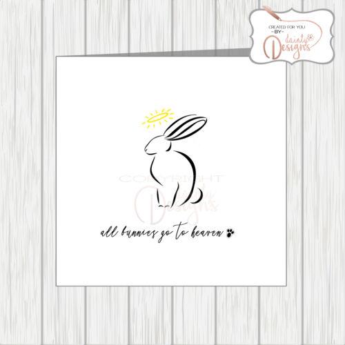 Pet With Sympathy Card Loss Bereavement Condolence Bunnies Rabbits Go To Heaven