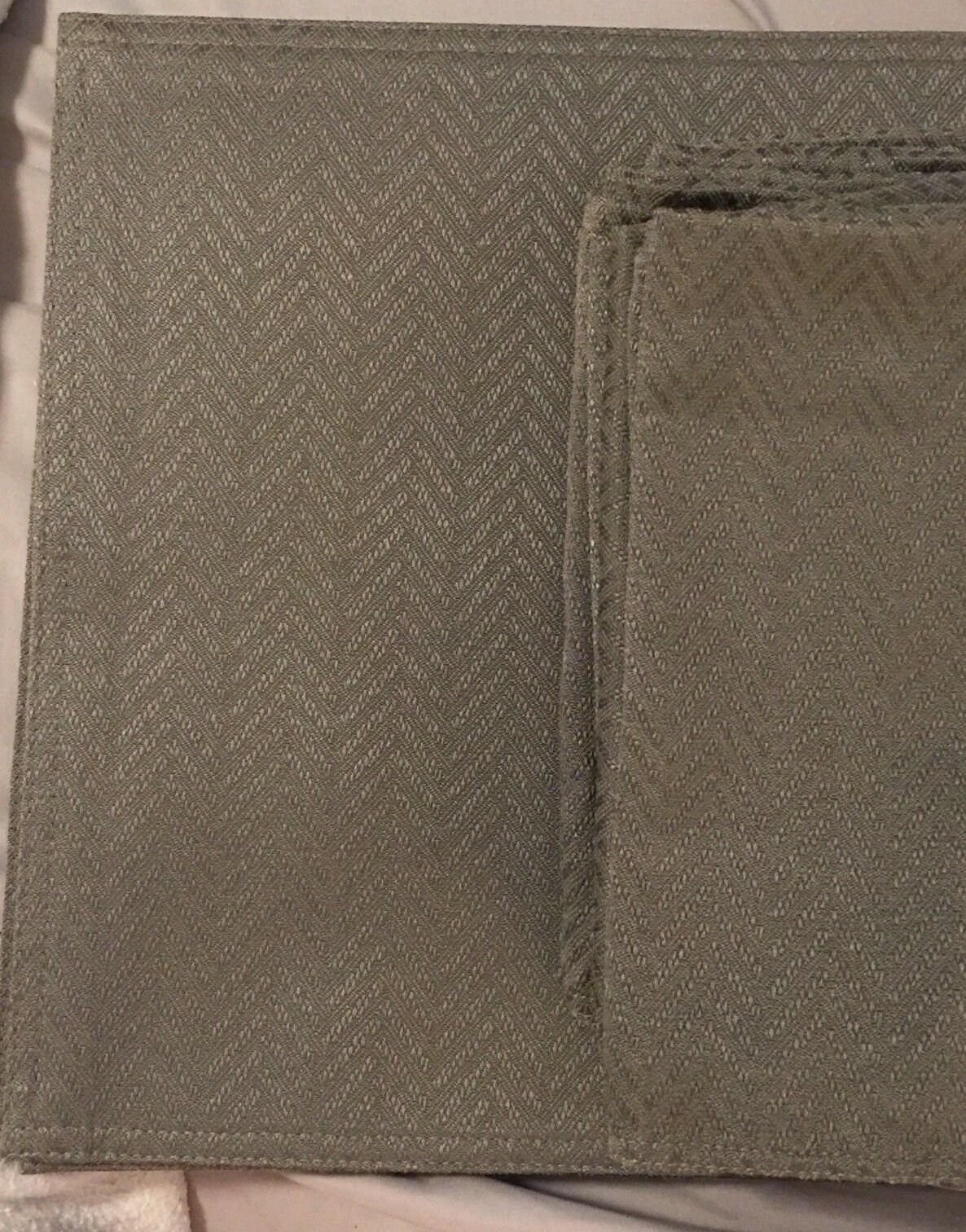 Ralph Lauren Napkin Placemat Set of 6 Olive vert Chevron Pattern Table Linen