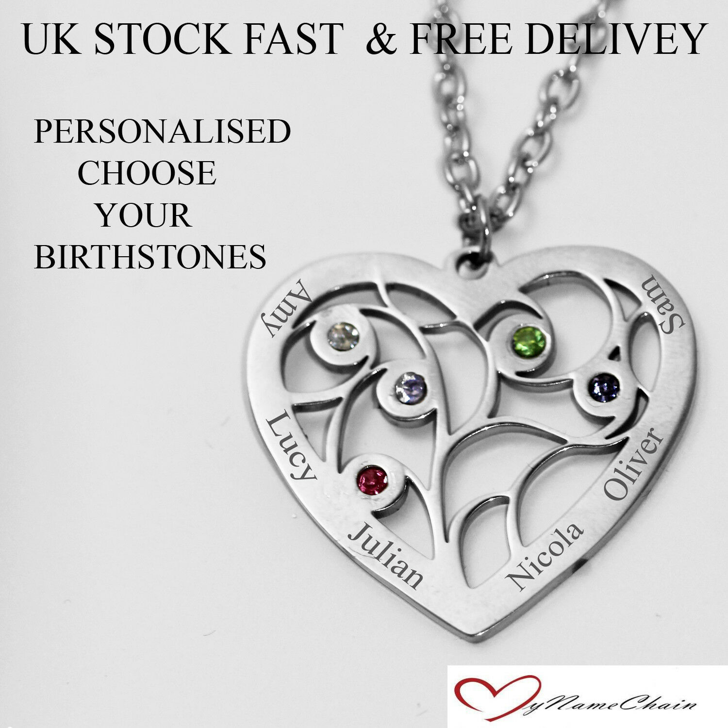 703a8fd38edbb Personalised Heart 5 Birthstone Name Necklace Any Names Silver Jewellery  Gift UK