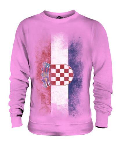 CROATIA FADED FLAG UNISEX SWEATER TOP HRVATSKA FOOTBALL CROATIAN GIFT SHIRT