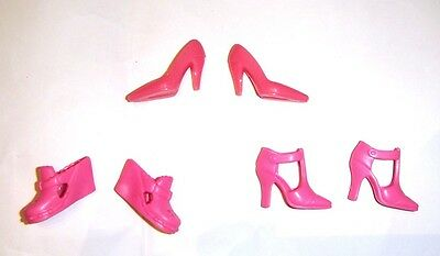 Barbie Doll Sized 3 Pairs Of Pink Color Shoes For Barbie Dolls sh811