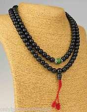 "Black Mala schwarze Onyxe ""grüne Jade"" Rosary Gebetskette Buddhismus 101f"