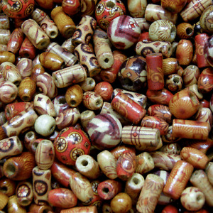 100pcs-Wooden-beads-mixed-patterns-and-mixed-shapes-Round-Tube-Rice-beads-Mix