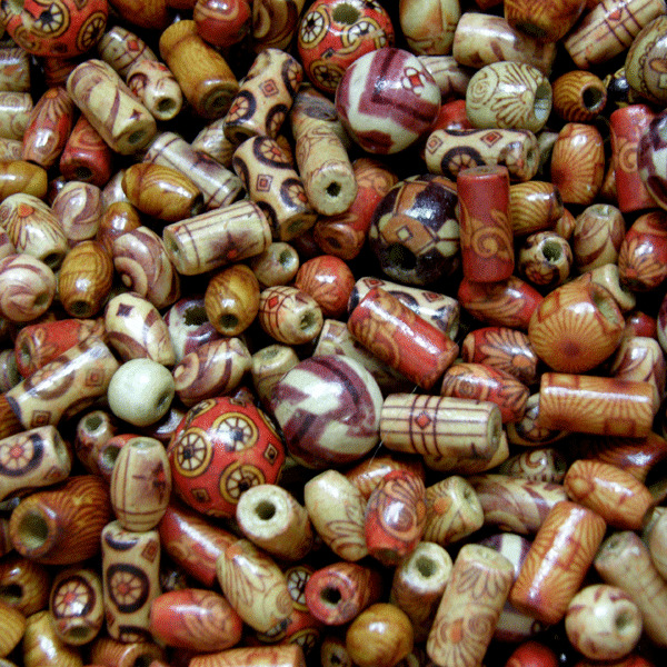100pcs Wooden beads mixed patterns & mixed shapes Round Tube Rice beads Mix W300
