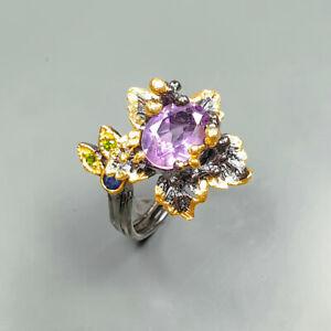 Vintage Natural Amethyst 925 Sterling Silver Ring Size 8.5/R122298