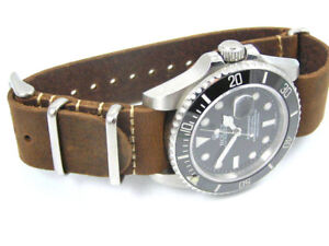 Leather Nato 174 Watch Strap For Omega Seamaster Speedmaster
