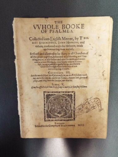 1615 Book of Psalms by Sternhold & Hopkins Printed in London