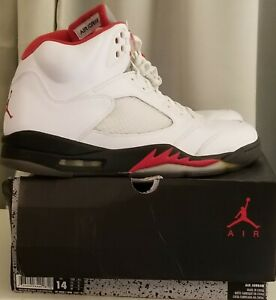 new product 878a8 797ea Image is loading Nike-Air-Jordan-5-Retro-White-Fire-Red-