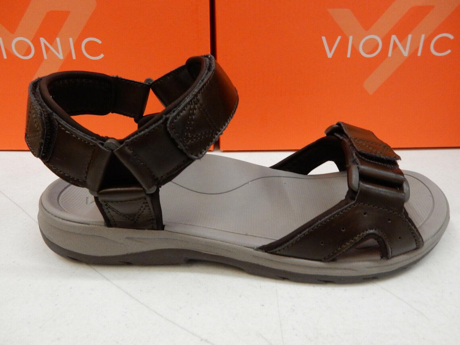 Vionic Mens Leo Backstrap Sandal Brown Size 8