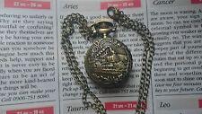 MINI Bronze Pocket Watch Necklace Pendent Retro STEAM ENGINE + Velvet Pouch