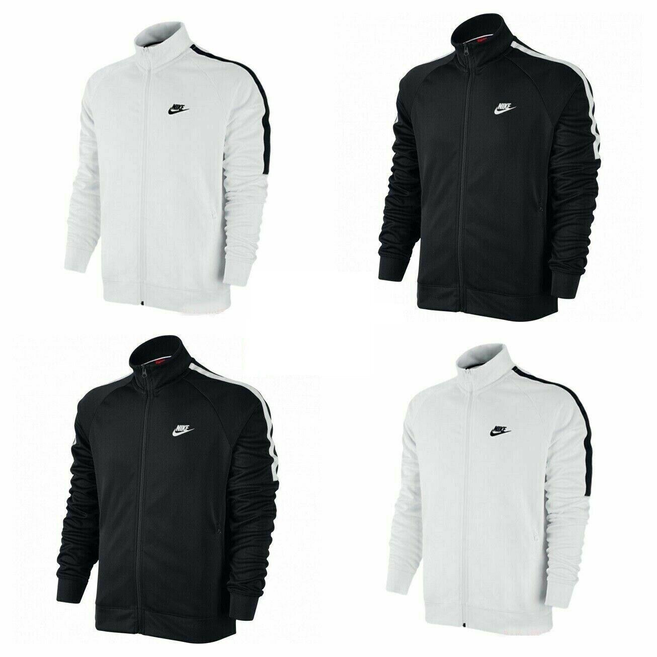 Nike Mens Jacket Tribute Training Sports Jackets Full Zip Top White Black