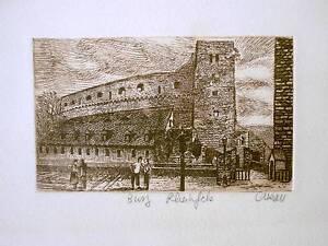 Vintage-Busy-Rheinfels-Castle-Germany-Alleau-Signed-Art-Print-Card-Rhine-River