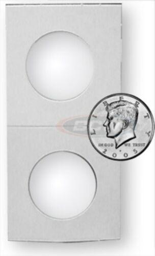 20 BCW HALF DOLLAR 2X2 MYLAR WHITE PAPER COIN FLIP STORAGE HOLDERS