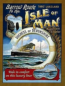 Isle-Of-Man-Duquesa-de-Devonshire-Letrero-Pequeno-Acero-20mm-X-150mm-Og