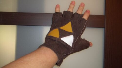 Brown leather fingerless gloves for Link Costume plain or with Tri Force