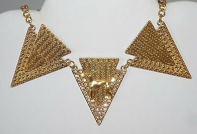 Gold Plated Standing Greyhound Dog, Pink Rhinestones, Lovely Collar Necklace